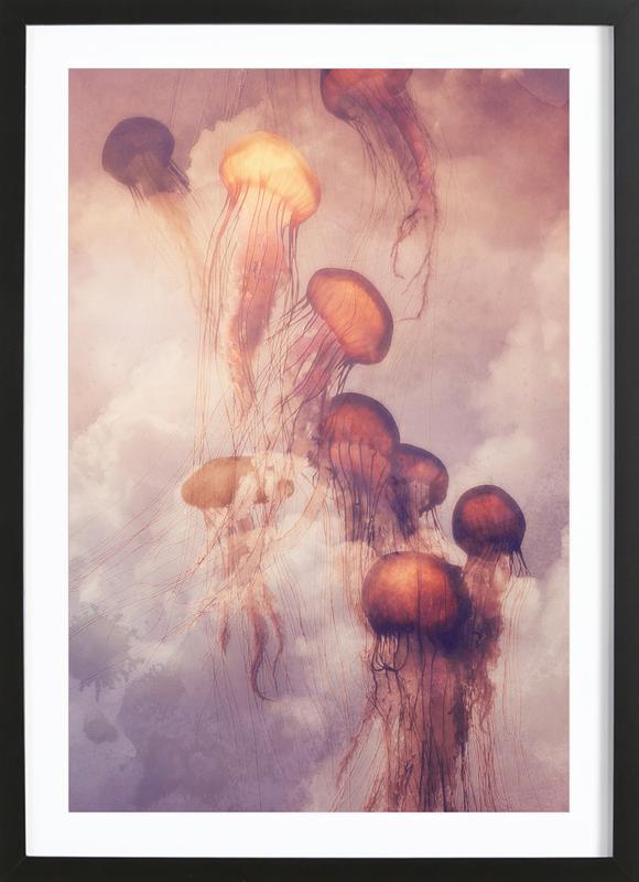 Jellyfish Sky -Bild mit Holzrahmen