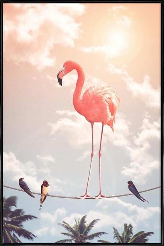 Flamingo and Friends -Bild mit Kunststoffrahmen