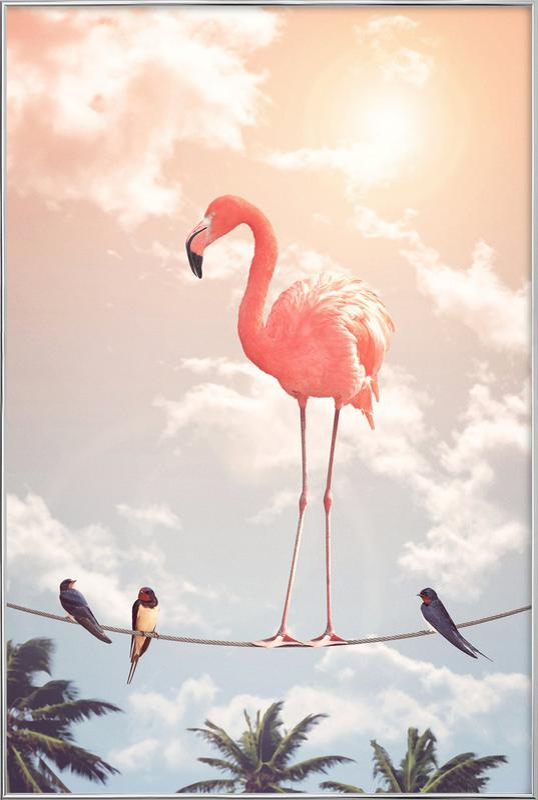 Flamingo and Friends poster in aluminium lijst