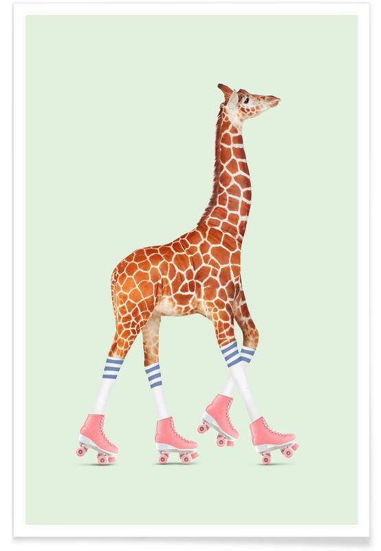 Girafes, Rollerskating Giraffe affiche