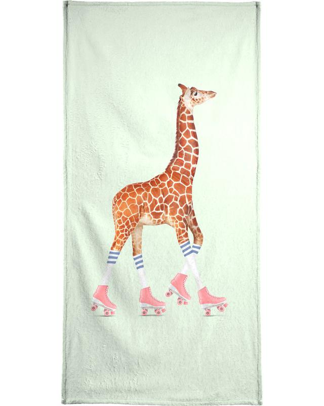 Rollerskating Giraffe Beach Towel