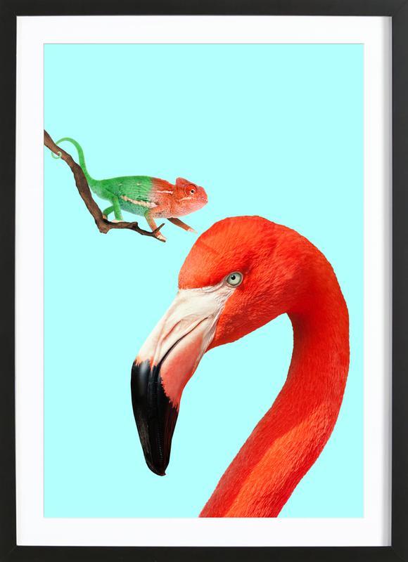 Colorful Friends -Bild mit Holzrahmen