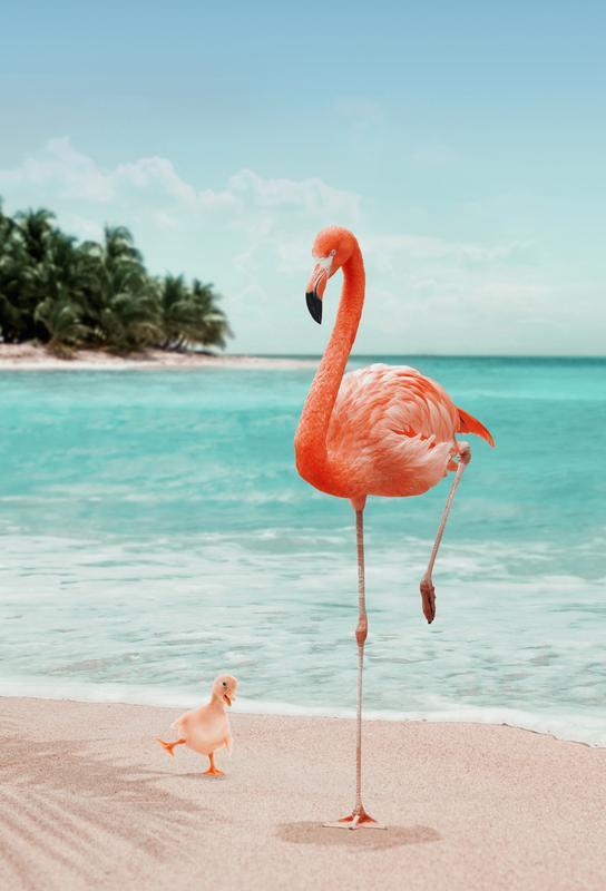 Wannabe Flamingo tableau en verre