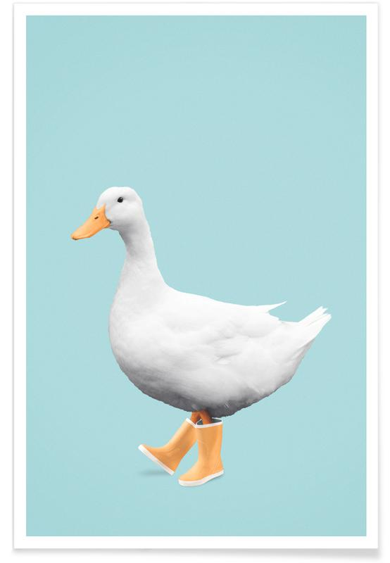 Kunst voor kinderen, Grappig, Eenden, Duck Boots poster
