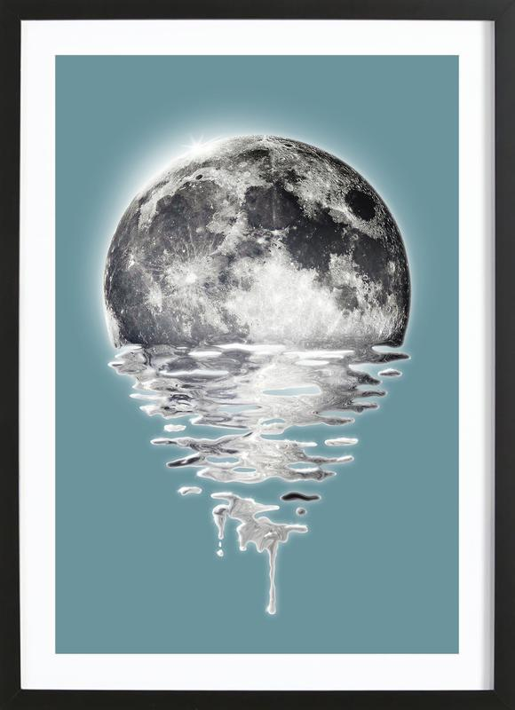 Melting Moon -Bild mit Holzrahmen