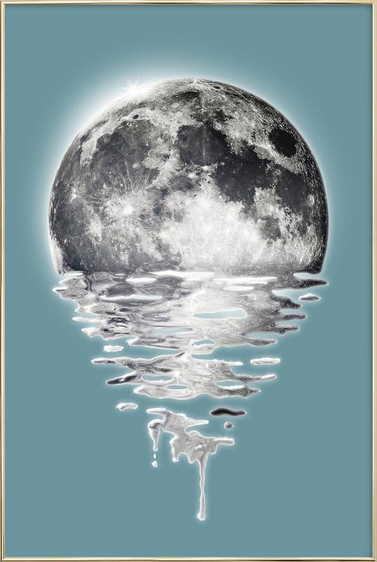 Melting Moon poster in aluminium lijst
