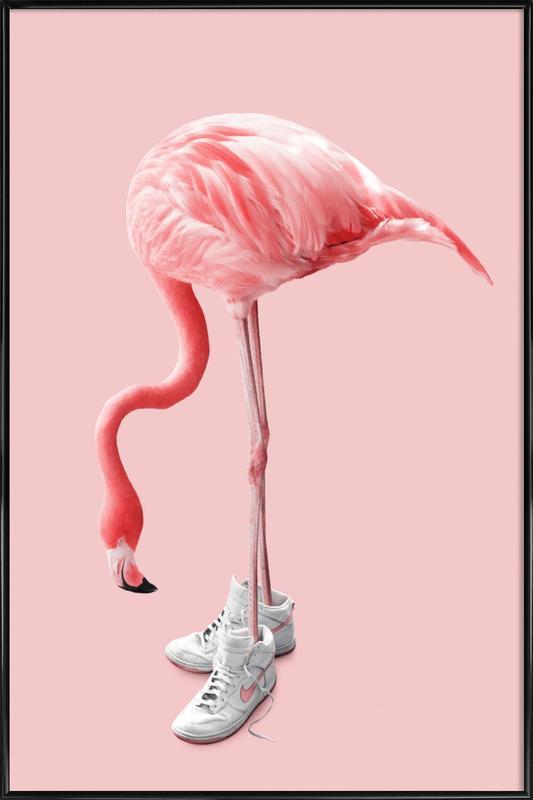 Sneaker Flamingo ingelijste poster