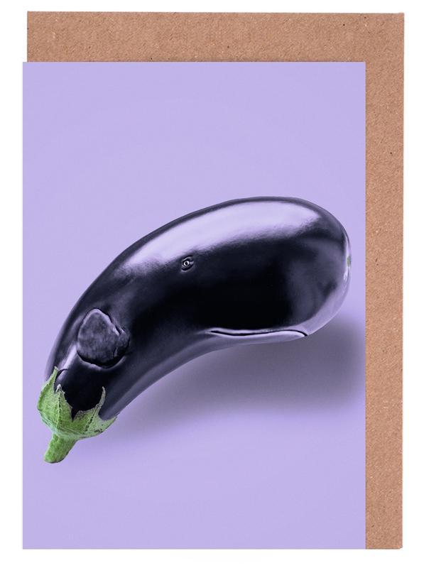 Eggplant Whale -Grußkarten-Set