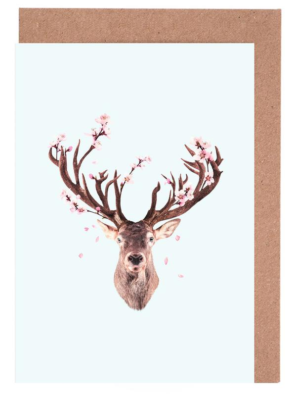 Cherry Blossom Deer -Grußkarten-Set