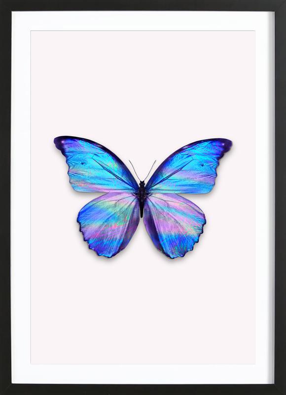 Holographic Butterfly affiche sous cadre en bois