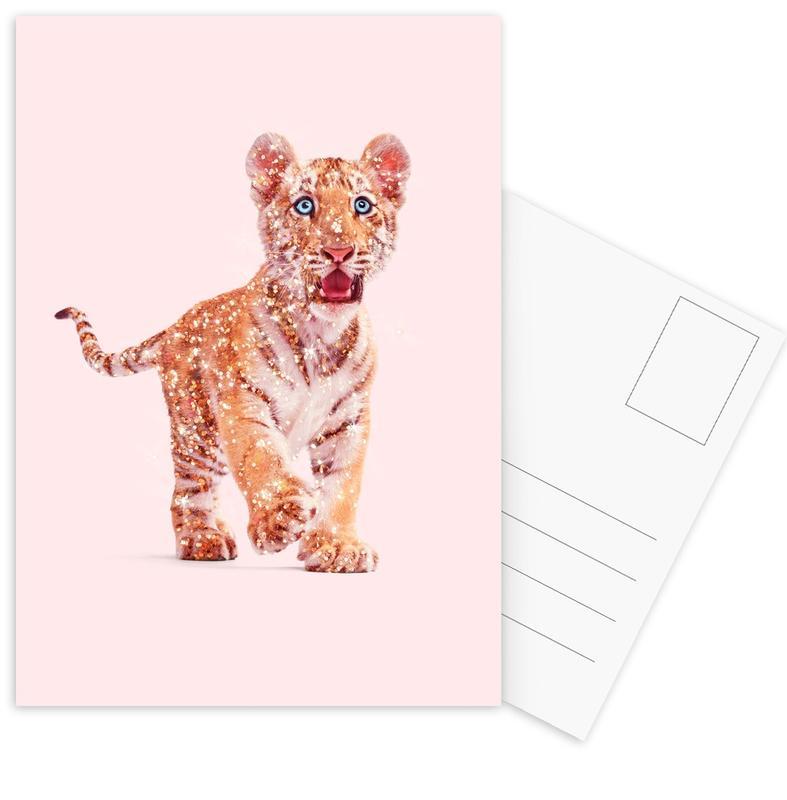 Tiger, Kinderzimmer & Kunst für Kinder, Lustig, Glitter Tiger -Postkartenset