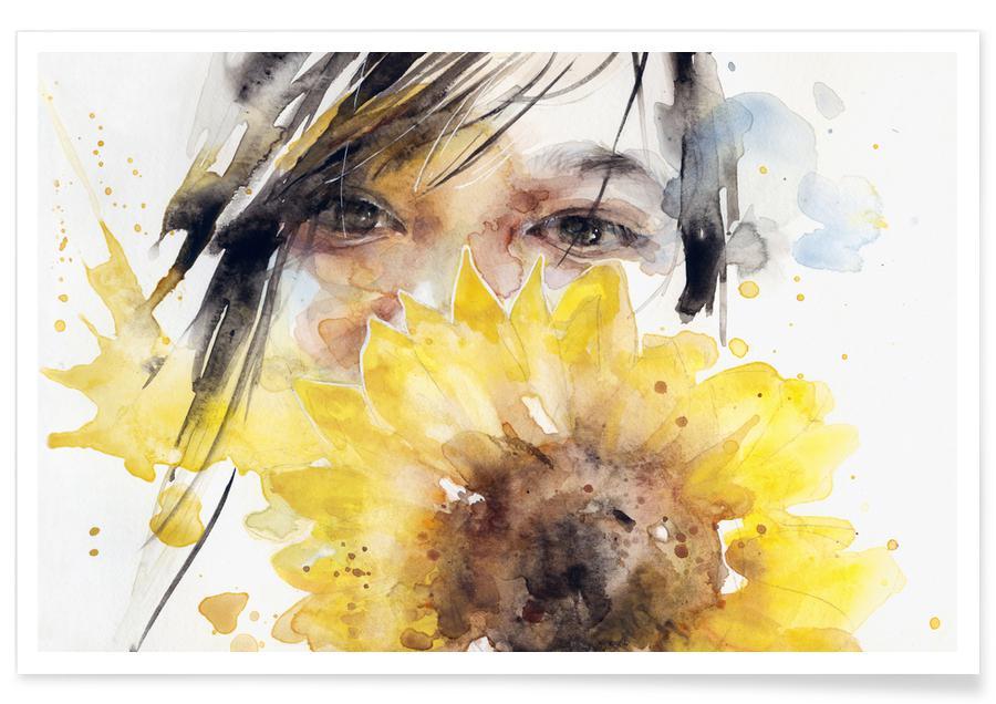 Portrætter, Solsikker, Sunflower Girl Plakat