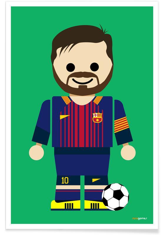 Kunst voor kinderen, Voetbal, Messi Toy poster