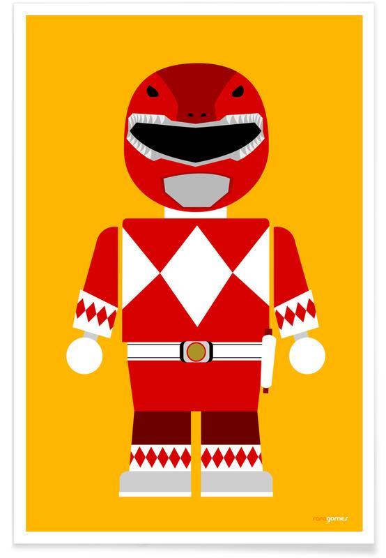 Filme, Kinderzimmer & Kunst für Kinder, Power Ranger Toy Red -Poster