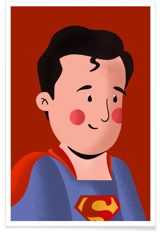 Art pour enfants, Captain America, Superman, Batman, Spider-Man, Superman Portrait affiche