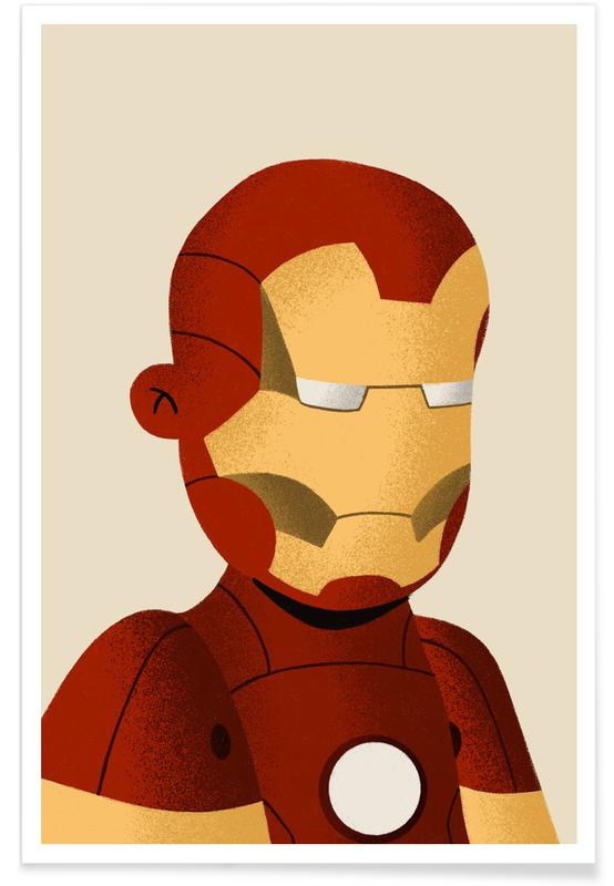 Art pour enfants, Captain America, Superman, Batman, Spider-Man, Iron Man, Iron Man Portrait affiche
