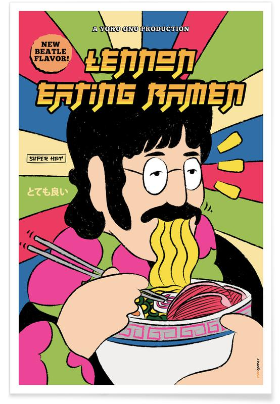 The Beatles, Lennon Eating Ramen poster