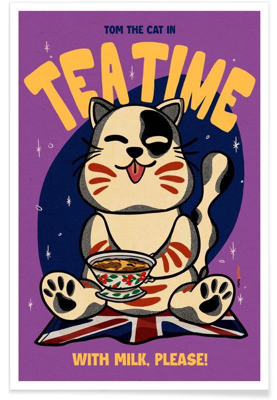 Katzen, Reise, Japanisch inspiriert, Tea Time -Poster