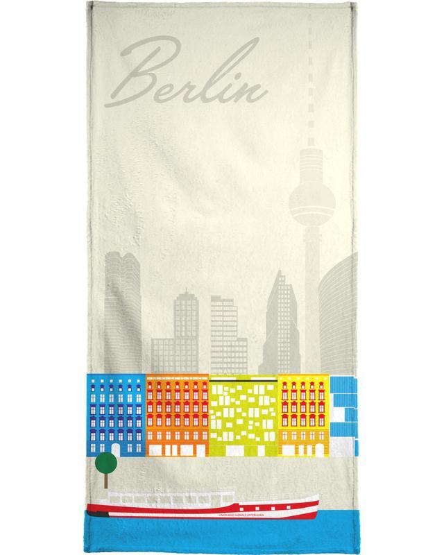 Retro, Berlin, Travel, Berlin Skyline Bath Towel