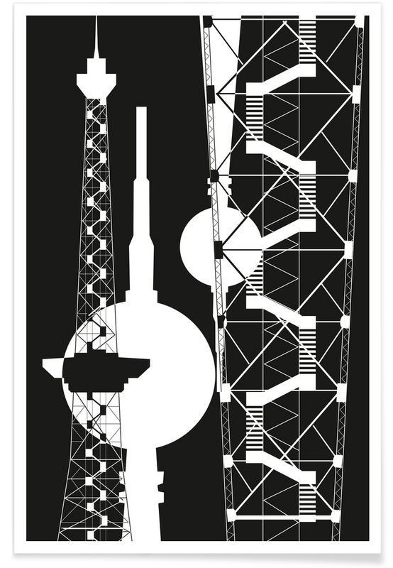 Berliner Fernsehturm & Funkturm  2 -Poster