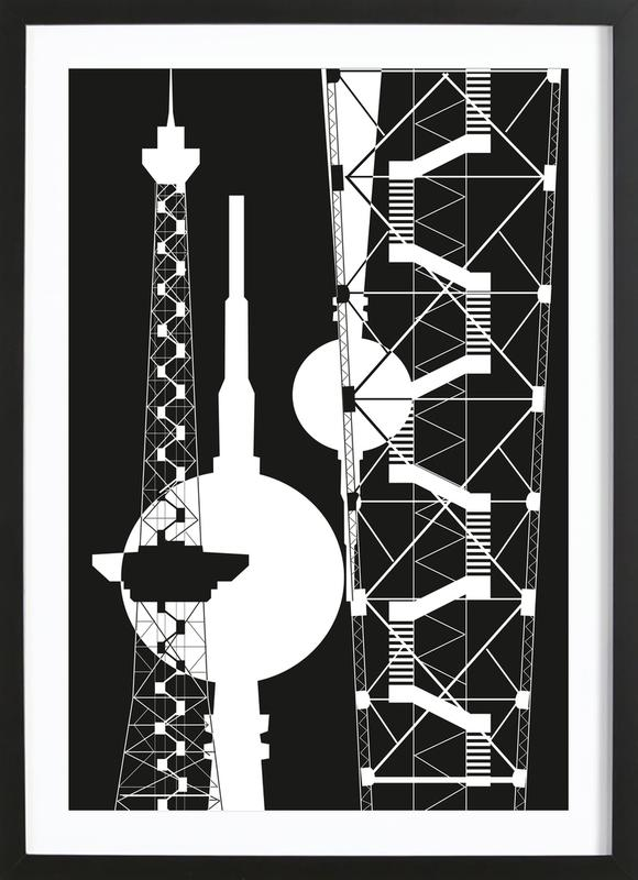 Berliner Fernsehturm & Funkturm  2 -Bild mit Holzrahmen