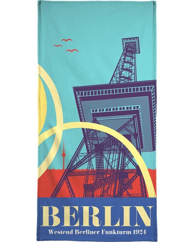 Berlijn, Retro, Reizen, Berlin Funkturm strandlaken