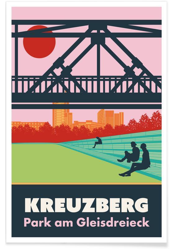 Reise, Retro, Berlin, Berlin Kreuzberg -Poster