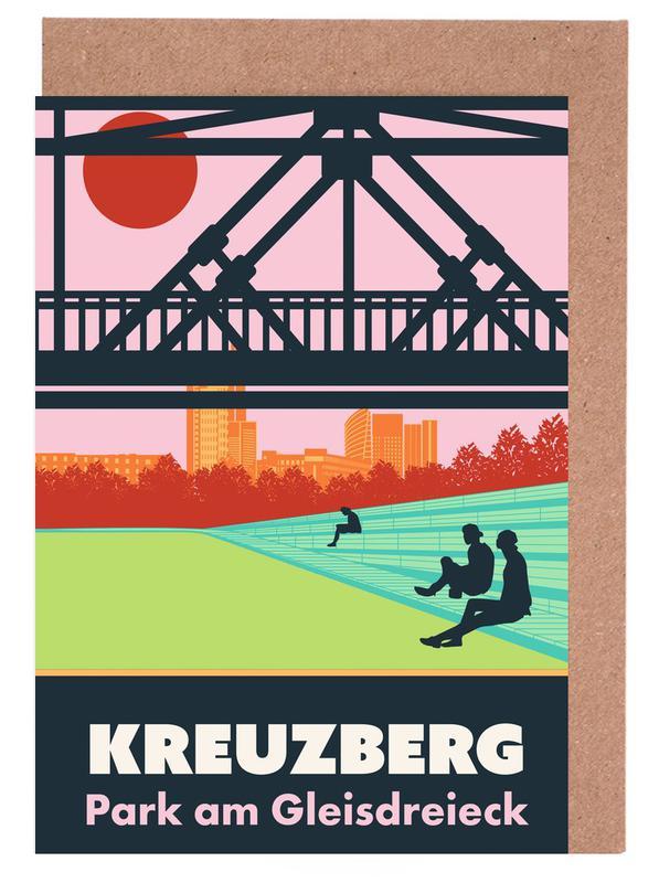 Berlin, Retro, Travel, Berlin Kreuzberg Greeting Card Set