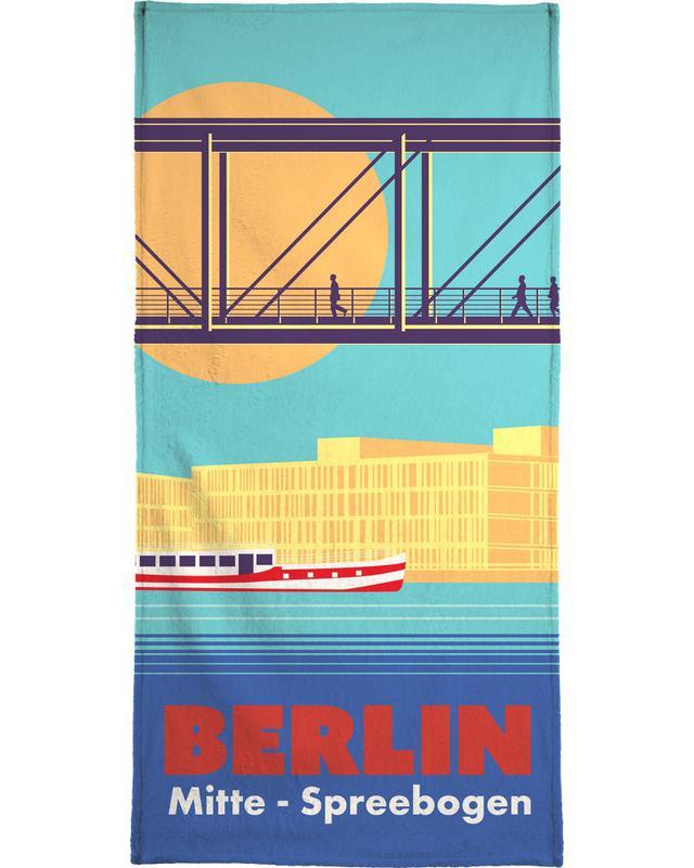 Berlijn, Retro, Reizen, Berlin Spreebogen strandlaken