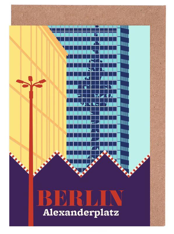 Berlin, Retro, Travel, Berlin Alexanderplatz Greeting Card Set