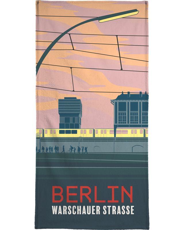 Retro, Berlin, Travel, Berlin Warschauer Straße Bath Towel