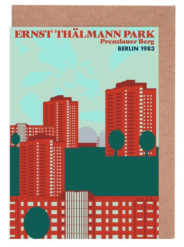 Berlin, Retro, Travel, Ernst Thälmannpark Greeting Card Set