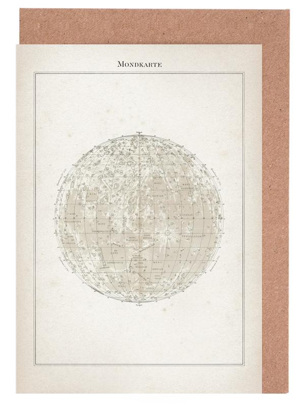 Vintage, Brockhaus 2 Mondkarte -Grußkarten-Set