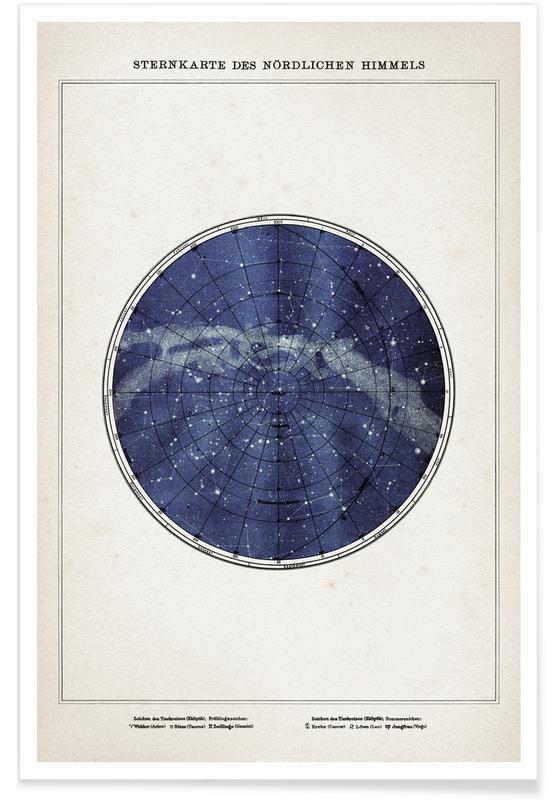 Sternenkarte Norden - Brockhaus -Poster