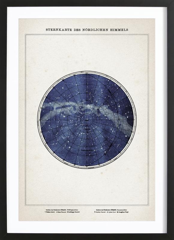 Sternenkarte Norden - Brockhaus -Bild mit Holzrahmen