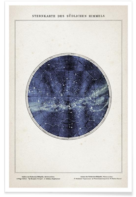 Sternenkarte Süden - Brockhaus -Poster