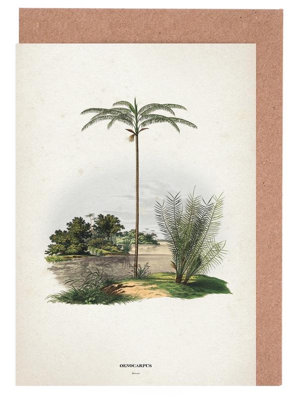 Palmen, Vintage, Martuis 1 Oenocarpus Bataua -Grußkarten-Set