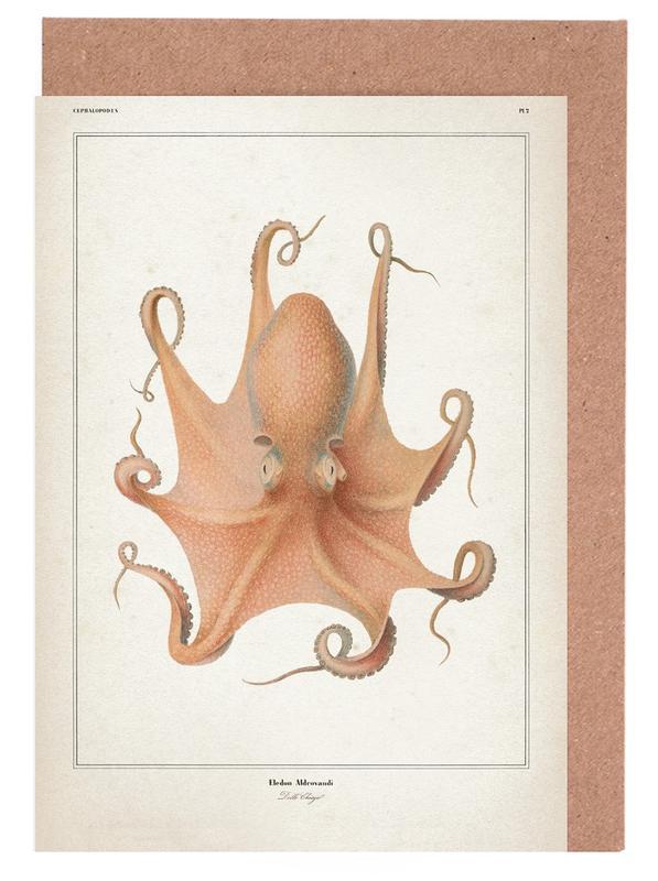 Vintage, Kraken, Vérany 1 Eledon Aldrovandi -Grußkarten-Set