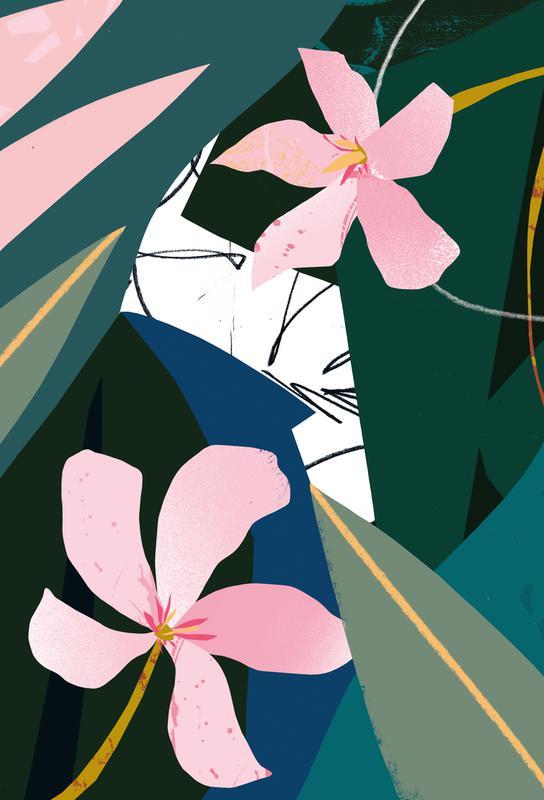 Oleander -Acrylglasbild