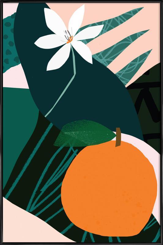 Orange ingelijste poster
