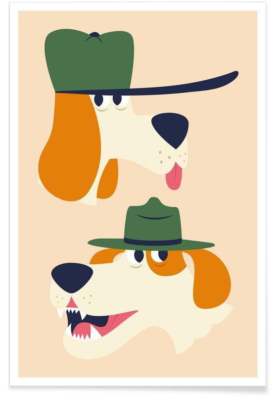 Chiens, Art pour enfants, Dogs affiche