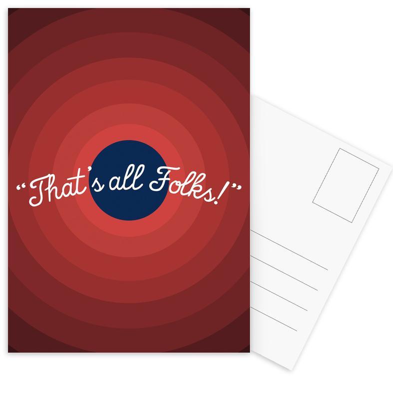 That's All Folks Postcard Set