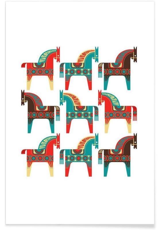 Pferde, Dala Horses 1 -Poster