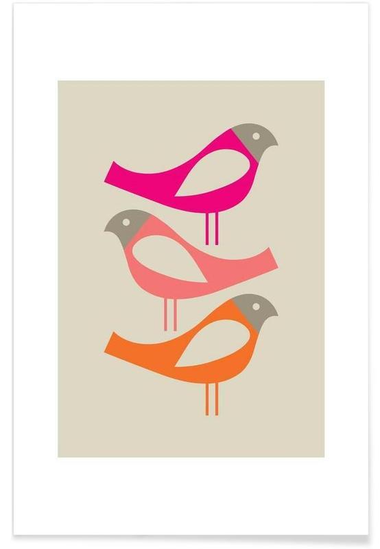 , Three Scandi Birds 1 -Poster