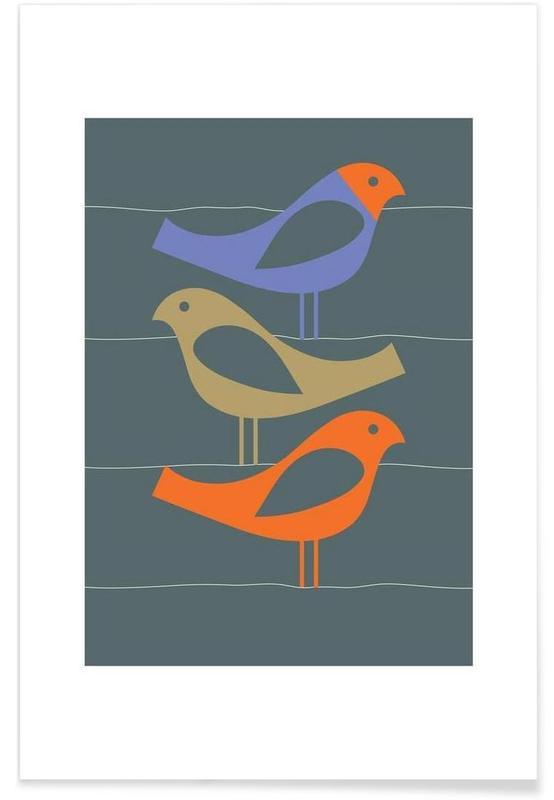 , Three Scandi Birds 2 -Poster