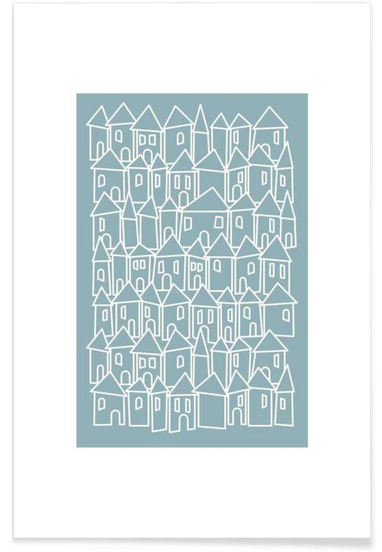 , Little Streets Teal -Poster