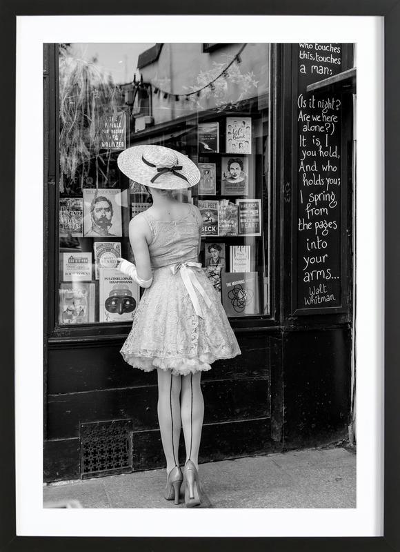 Window Shopping -Bild mit Holzrahmen
