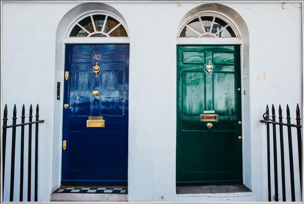 London Doors Poster in Aluminium Frame