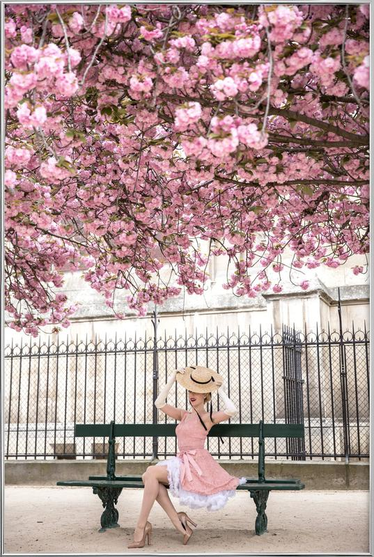 Lady at the Cherry Blossom Poster in Aluminium Frame