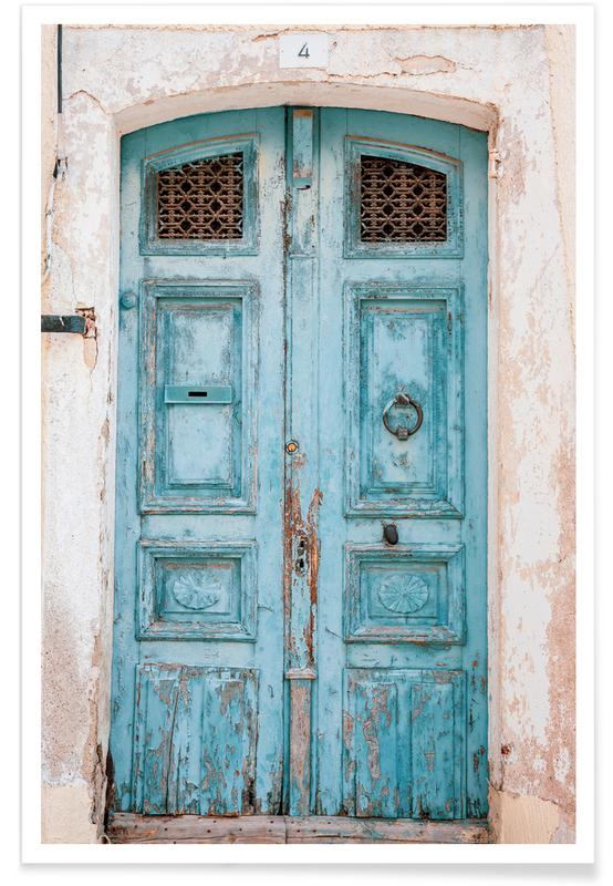 Architectural Details, Travel, Turquoise Door Poster